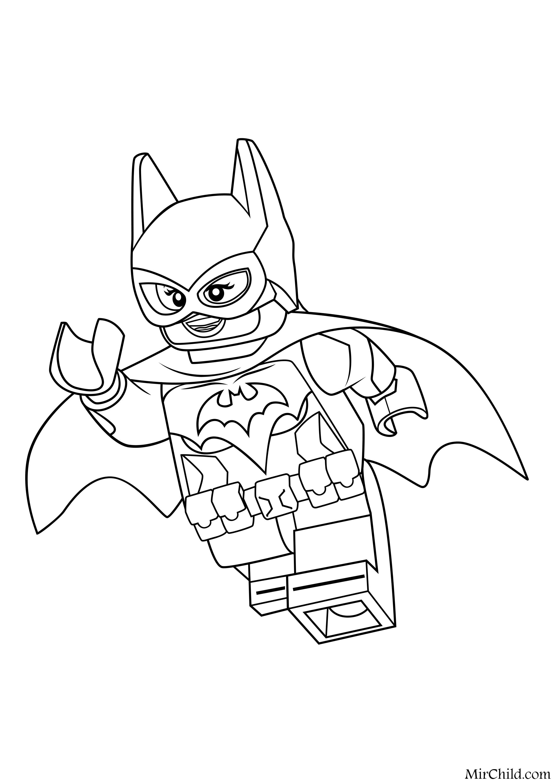 Раскраска Лего Фильм Бэтмен Супергерой Бэтгёрл Mirchild
