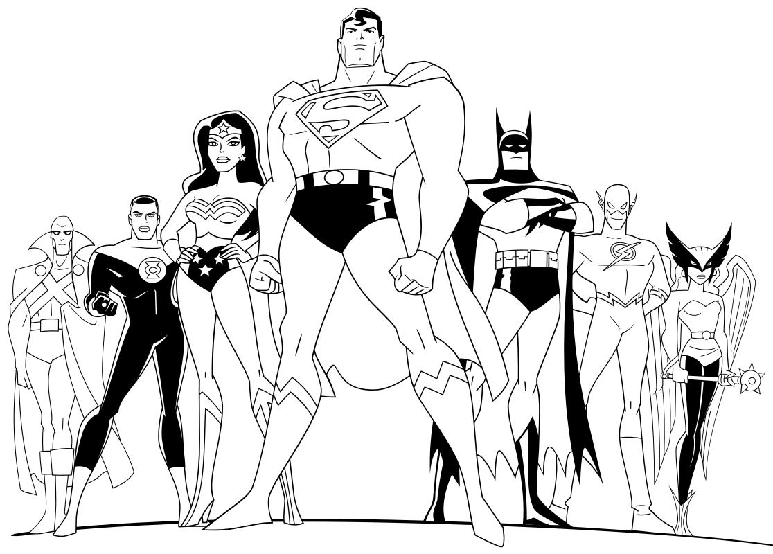 Раскраска - Лига Справедливости - Команда супергероев Лиги ...