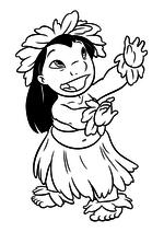 Раскраска - Лило и Стич - Танцующая Лило