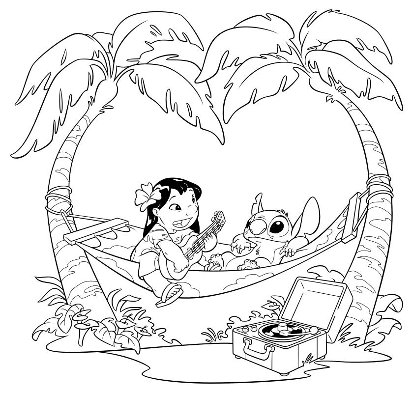 Раскраска - Лило и Стич - Лило и Стич в гамаке | MirChild