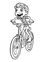 Раскраска - Лука - Лука Пагуро на велосипеде