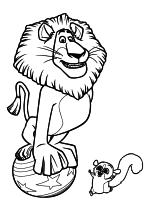 Раскраска - Мадагаскар - Алекс на шаре и мышиный лемур Морт