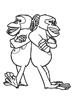 Раскраска - Мадагаскар 2 - Шимпанзе Мэйсон и Фил