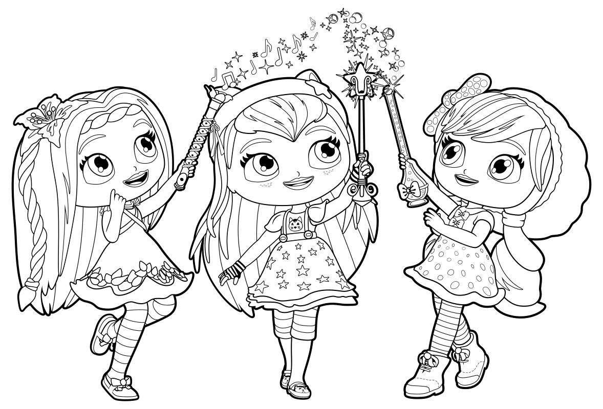 Раскраска - Маленькие волшебницы - Поузи, Хэйзел и ...