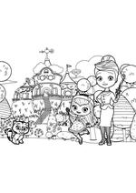 Раскраска - Маленькие волшебницы - Котёнок Сэвен, Хэйзел и миссис Чарминг