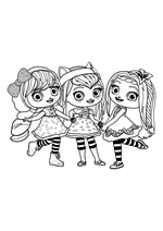 Раскраска - Маленькие волшебницы - Лэвендер, Хэйзел и Поузи