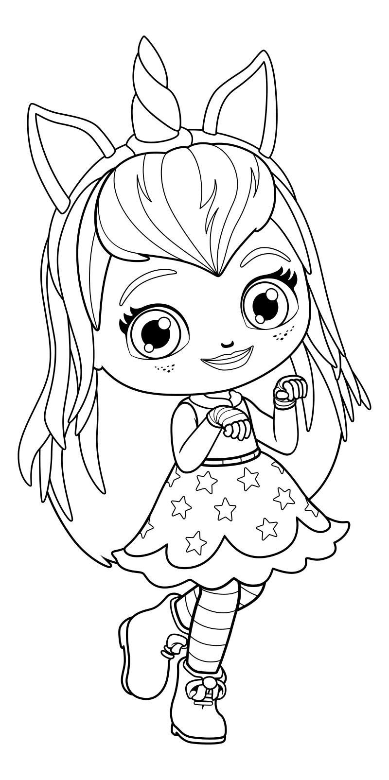 Раскраска - Маленькие волшебницы - Хэйзел с ободком ...