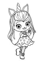 Раскраска - Маленькие волшебницы - Хэйзел с ободком единорога