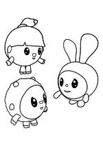 Раскраска - Малышарики - Нюшенька, Крошик и Барашик