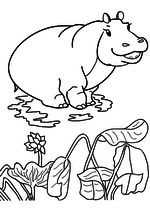 Раскраска - Мама для мамонтёнка - Тётушка Бегемотиха