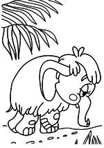 Раскраска - Мама для мамонтёнка - Грустный Мамонтёнок