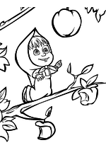 Раскраска - Маша и Медведь - Маша залезла на яблоню