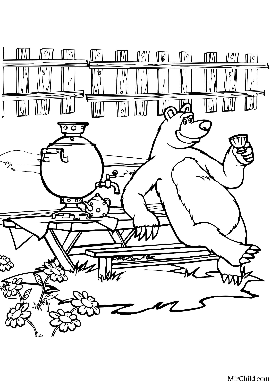 Раскраска - Маша и Медведь - Медведь пьёт чай | MirChild