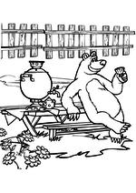 Раскраска - Маша и Медведь - Медведь пьёт чай