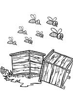 Раскраска - Маша и Медведь - Маша растревожила пчёл