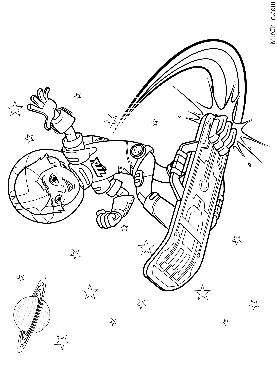 Раскраска - Майлз с другой планеты - Майлз в космосе на ...