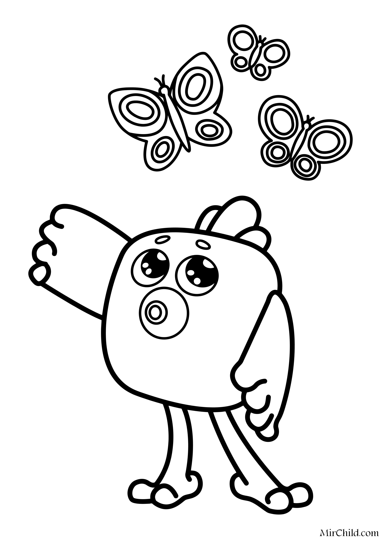 Раскраска - Ми-ми-мишки - Цыпа и бабочки   MirChild
