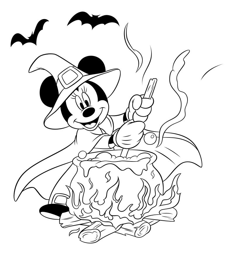 Раскраска - Микки Маус и друзья - Минни и котел - Хэллоуин