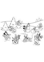 Раскраска - Микки Маус и друзья - Микки с друзьями и зимние забавы