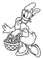 Раскраска - Микки Маус и друзья - Дейзи Дак с пасхальной корзиной