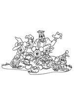 Раскраска - Микки Маус и друзья - Минни, Микки, Гуфи, Дональд и Плуто на Хэллоуин