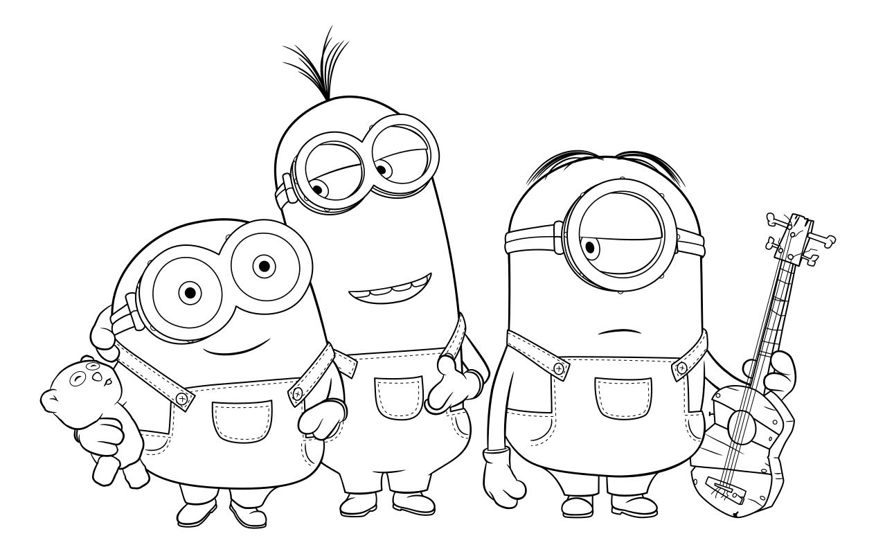 Раскраска - Миньоны - Миньоны Боб, Кевин и Стюарт | MirChild