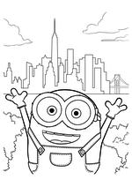 Раскраска - Миньоны - Миньон Боб в Нью-Йорке
