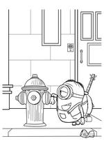 Раскраска - Миньоны - Миньон Стюарт и пожарный гидрант