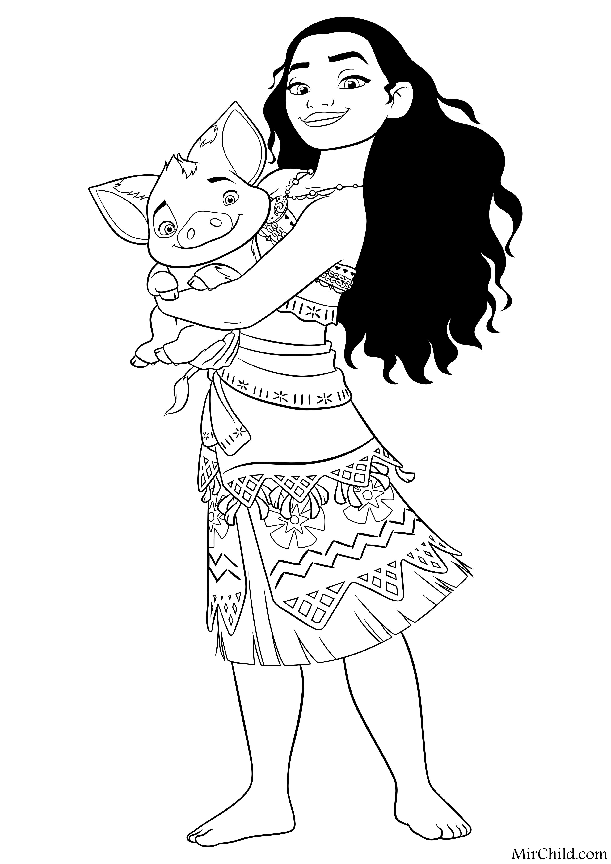 Раскраска Моана Моана и Пуа Mirchild