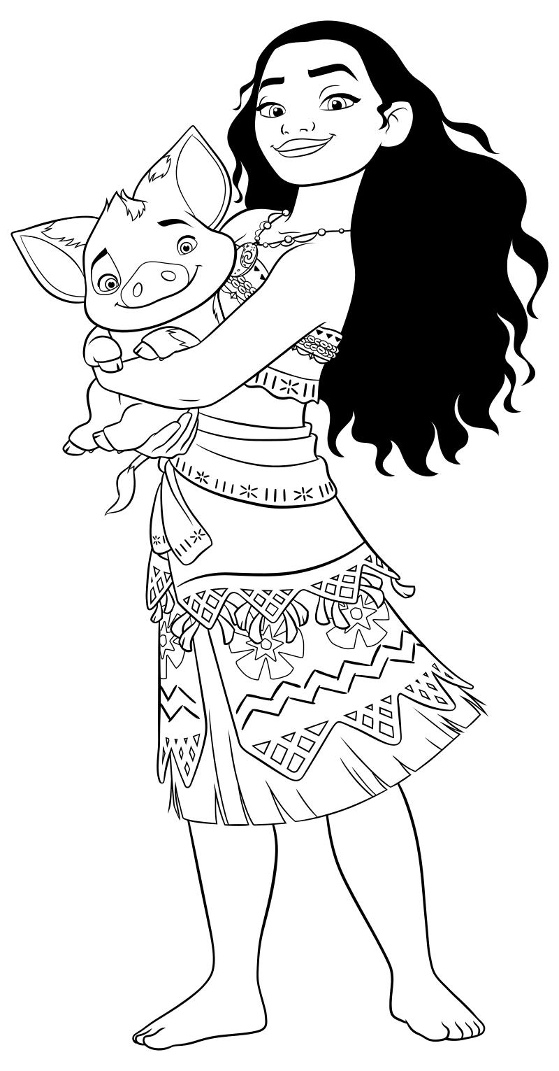 Раскраска - Моана - Моана и Пуа