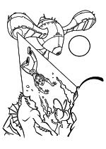 Раскраска - Монстры против пришельцев - Галактозавр забирает Сюзан на свой корабль