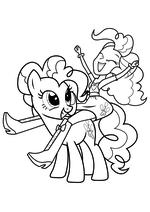 Раскраска - Мой маленький пони: Девочки из Эквестрии - Пинки Пай пони и Пинки Пай девочка