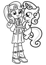 Раскраска - Мой маленький пони: Девочки из Эквестрии - Крошка Бель девочка и пони