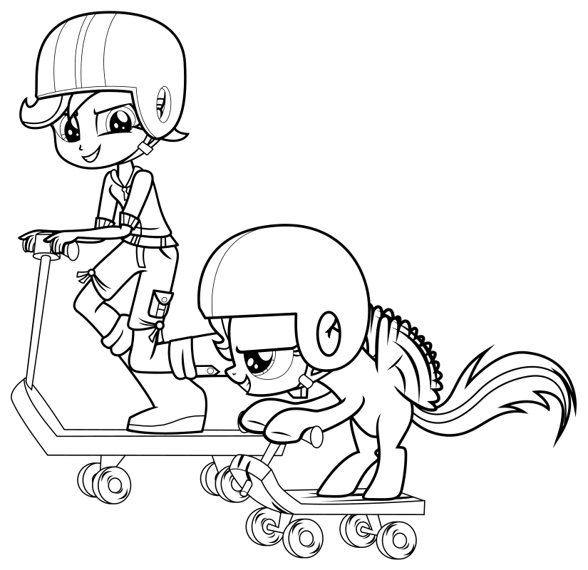Раскраска - Мой маленький пони: Девочки из Эквестрии - Скуталу пони и Скуталу девочка