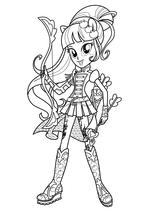 Раскраска - Мой маленький пони: Девочки из Эквестрии - Эпплджек лучница