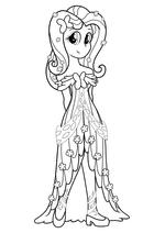 Раскраска - Мой маленький пони: Девочки из Эквестрии - Флаттершай в праздничном платье