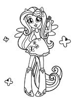 Раскраска - Мой маленький пони: Девочки из Эквестрии - Флаттершай - девочка