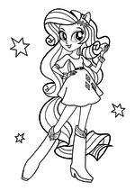 Раскраска - Мой маленький пони: Девочки из Эквестрии - Элегантная Рарити