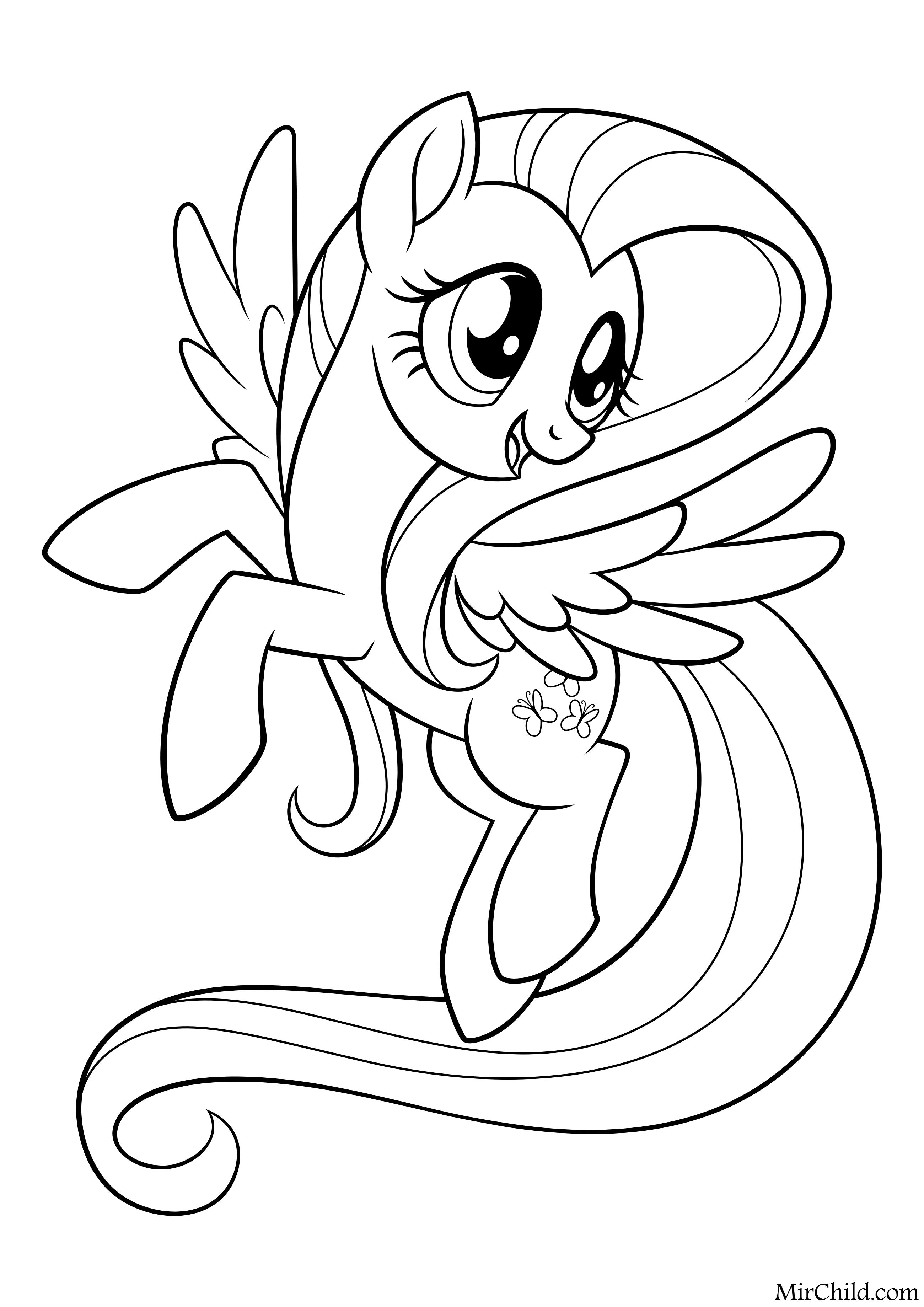 Раскраска - My Little Pony в кино - Флаттершай | MirChild