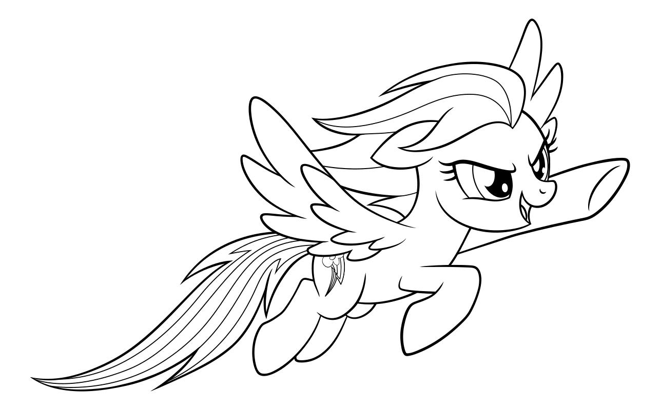 Раскраска - My Little Pony в кино - Радуга Дэш | MirChild