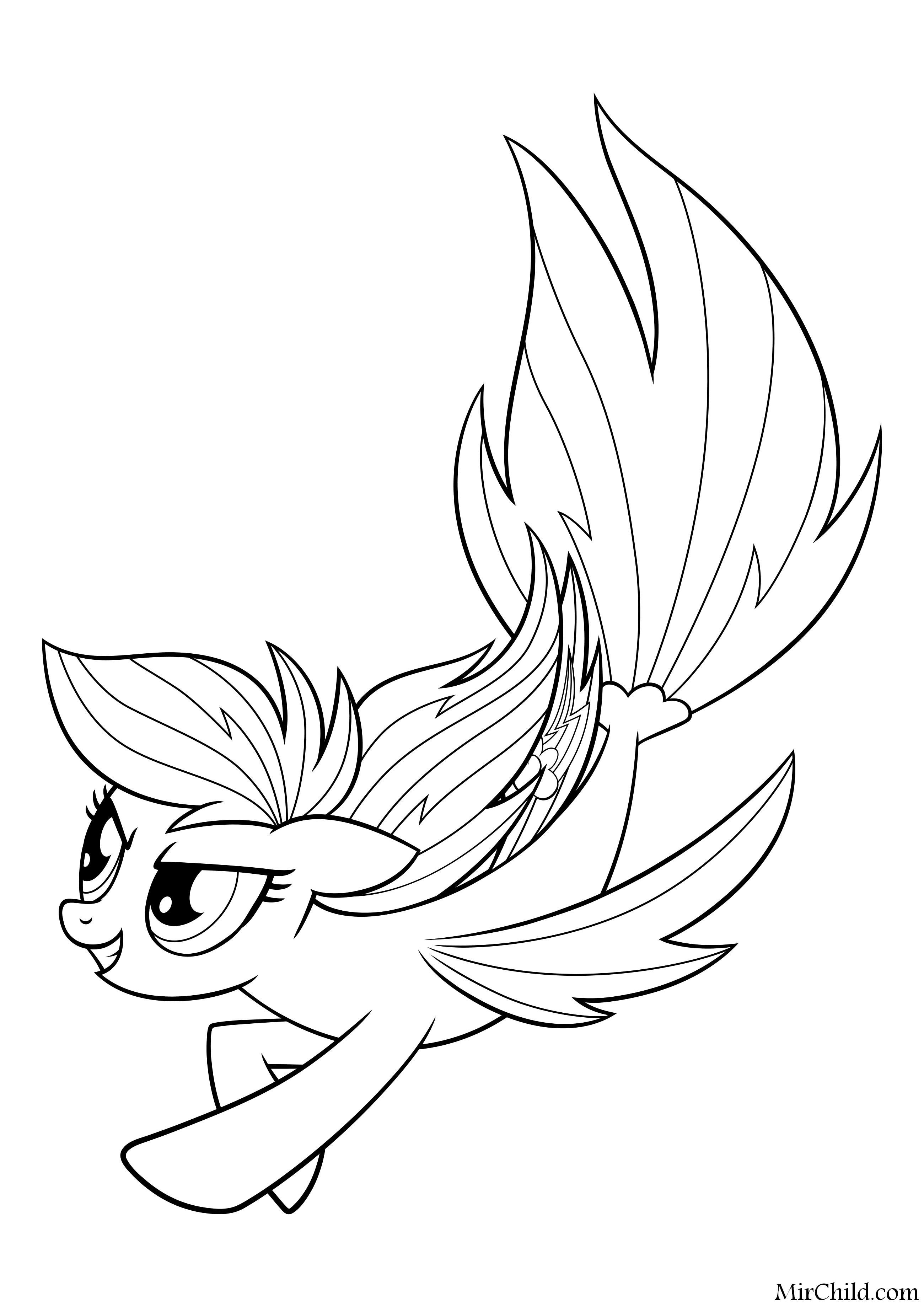 Раскраска - My Little Pony в кино - Радуга Дэш - морская ...