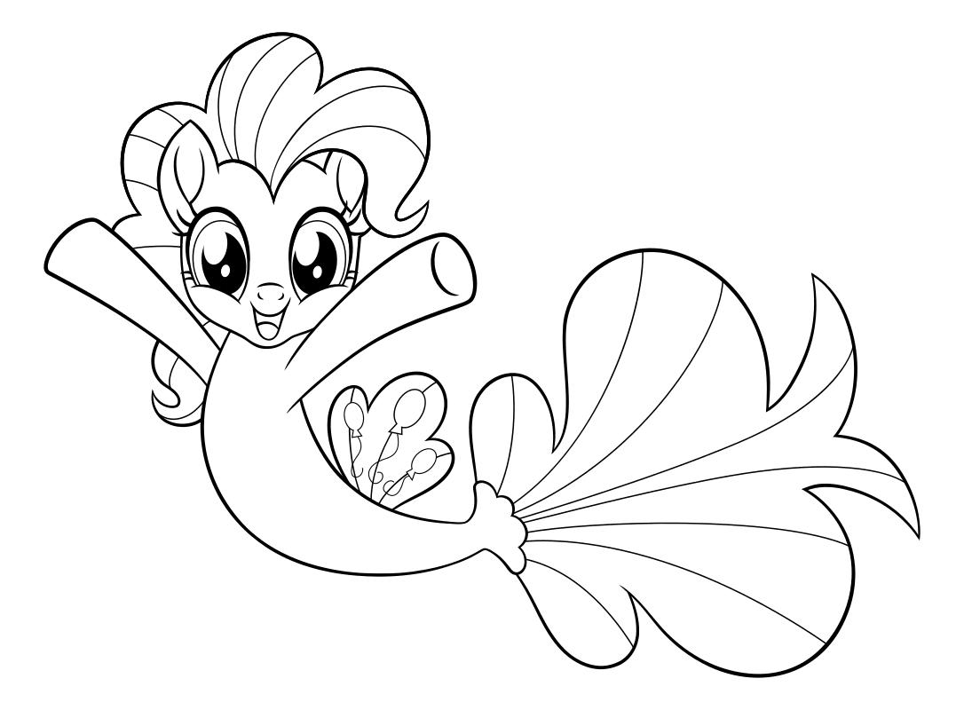 раскраска My Little Pony в кино пинки пай морская пони