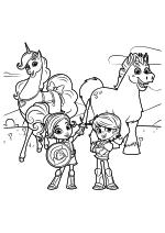 Раскраска - Нелла - отважная принцесса - Тринкет, Нелла, Гаррет и Клод