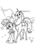 Раскраска - Нелла - отважная принцесса - Принцесса Нелла и Единорог Тринкет