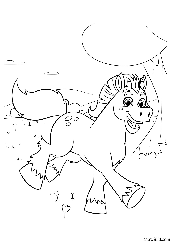 Раскраска - Нелла - отважная принцесса - Конь Клод | MirChild