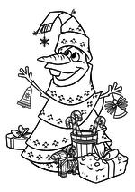 Раскраска - Олаф и холодное приключение - Олаф в роли ёлки