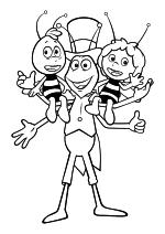 Раскраска - Пчёлка Майя: Новые приключения - Вилли, Флип и Майя