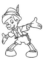 Раскраска - Пиноккио - Пиноккио развёл руки