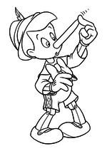 Раскраска - Пиноккио - У Пиноккио вырос нос