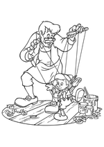 Раскраска - Пиноккио - Джеппетто и Пиноккио-марионетка